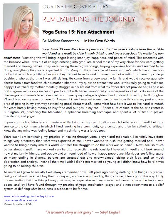 Yoga Sutra 15: Non Attachment